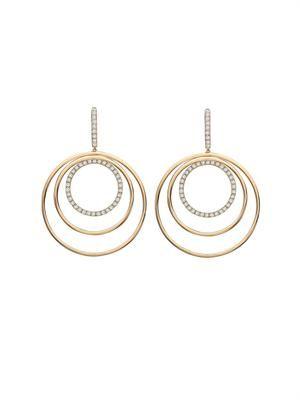 Diamond & gold triple-hoop earrings