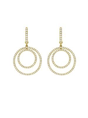 Diamond & gold double-hoop earrings