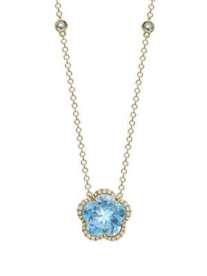 Diamond, blue-topaz & gold necklace