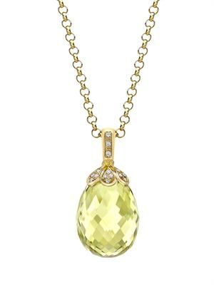 Diamond, lemon-quartz & gold necklace