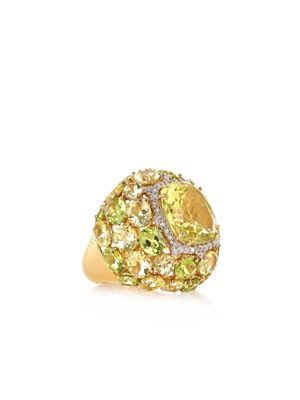 Diamond, peridot and gold ring