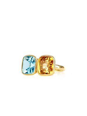 Citrine and blue topaz ring