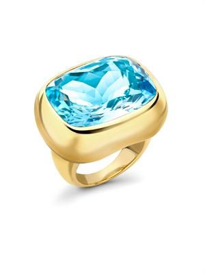 Blue-topaz & yellow-gold ring