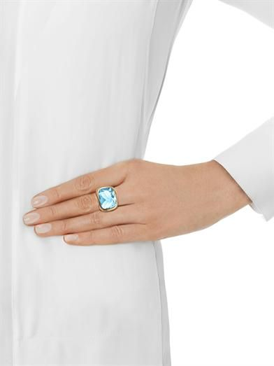 Kiki McDonough Blue-topaz & yellow-gold ring