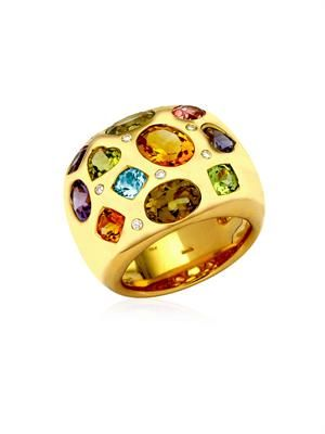 Diamond, gem & gold ring
