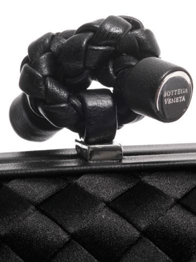 Bottega Veneta Knot satin and leather clutch