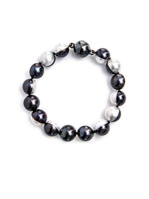 Peacock & white-pearl bracelet