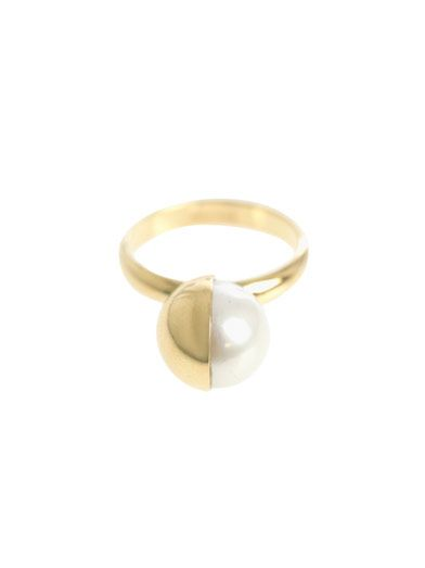 Melanie Georgacopoulos White pearl & yellow gold Tasaki ring