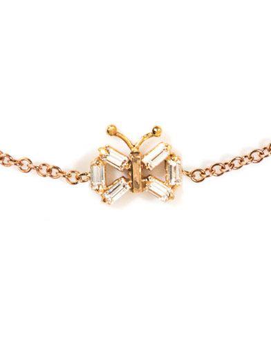 Matchstick Diamond and rose-gold butterfly bracelet
