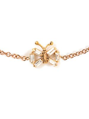 Diamond and rose-gold butterfly bracelet