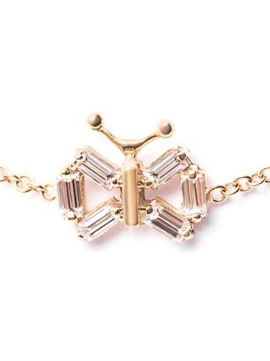 Matchstick Diamond & yellow gold butterfly bracelet