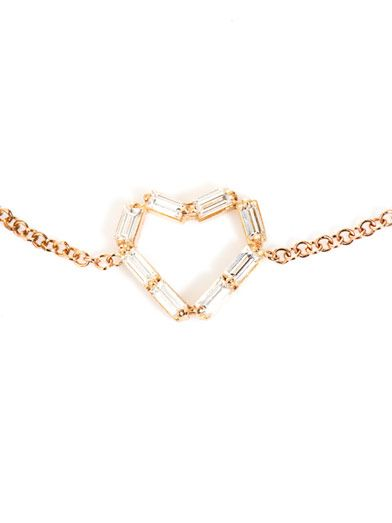 Matchstick Diamond & rose-gold heart bracelet