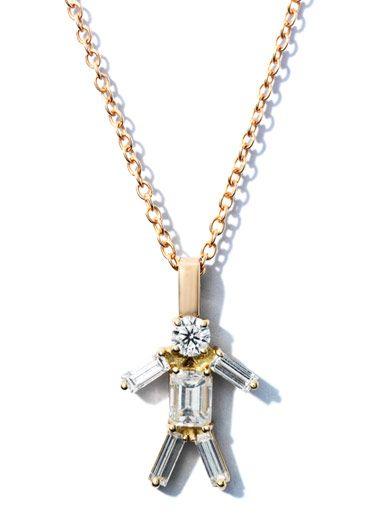 Matchstick Diamond & rose gold boy necklace