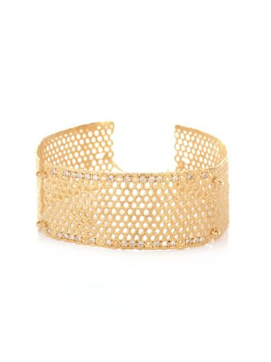 Lara Melchior Manchettei diamond & gold-plated lace cuff