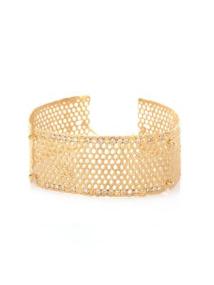 Manchettei diamond & gold-plated lace cuff