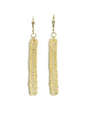 Diamond and gold-plated lace earrings
