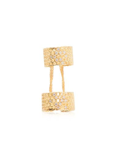 Lara Melchior Double X diamond & gold-plated ring
