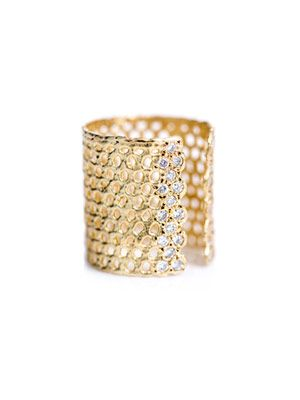 Bague II diamond & gold-plated ring