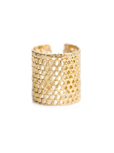 Lara Melchior Bague II diamond & gold-plated ring