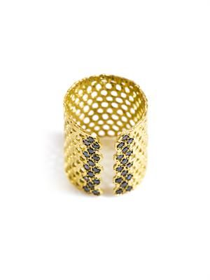 Bague I black diamond and gold-plated ring