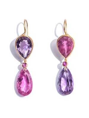 Amethyst, rublite & yellow gold earrings