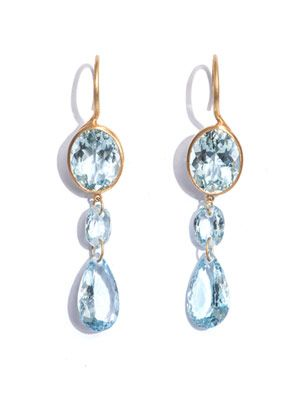 Aquamarine and yellow gold earrings