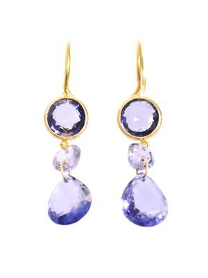 Iolite, spinel and yellow gold earrings