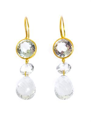 Quartz and yellow gold earrings