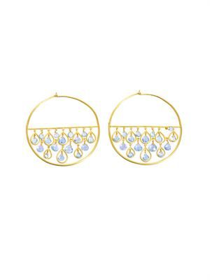 Aquamarine and yellow gold hoop earrings