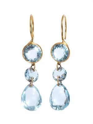 Aquamarine and yellow-gold earrings