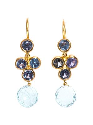 Sapphire, aquamarine & gold earrings