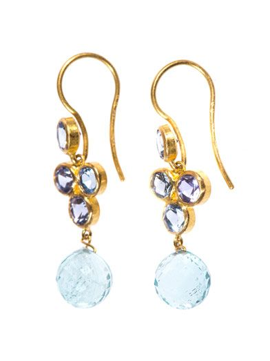 Marie-Hélène De Taillac Sapphire, aquamarine & gold earrings
