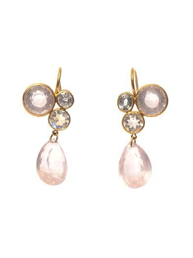 Marie-Hélène De Taillac Quartz, moonstone, spinel & gold earrings
