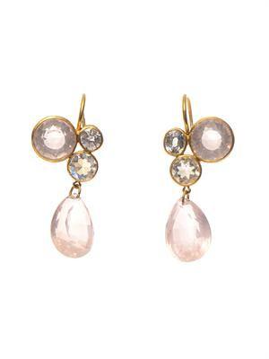 Quartz, moonstone, spinel & gold earrings