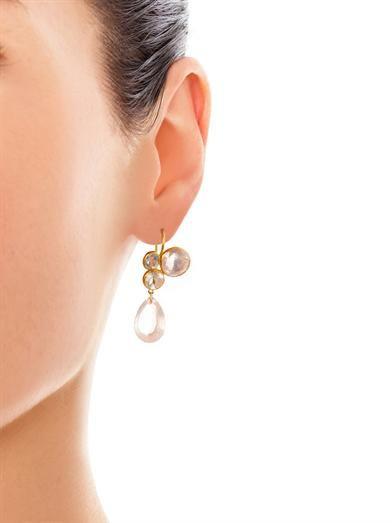 Marie-Hélène De Taillac Quartz, moonstone, spinel & gold earrings