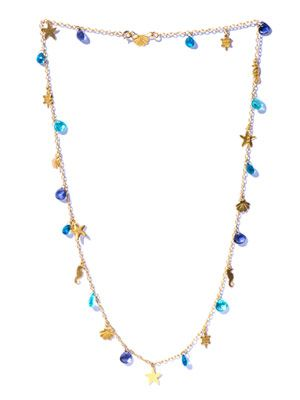 Apatite, iolite & yellow-gold necklace