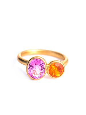Fire opal & pink tourmaline ring