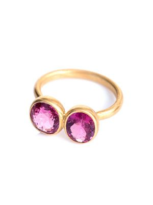 Rublite, spinel and yellow gold ring