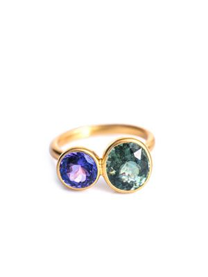 Tanzanite, tourmaline and gold ring