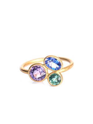 Aquamarine, tanzanite & tourmaline ring