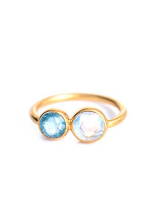 Aquamarine & rainbow moonstone ring