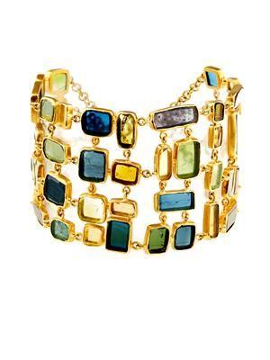 Tourmaline and yellow-gold bracelet