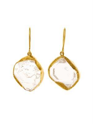 Herkimer diamond-quartz & gold earrings