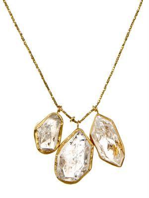 Herkimer diamond-quartz & gold necklace