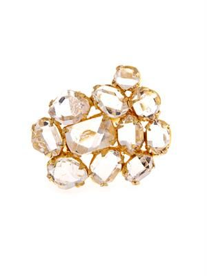 Herkimer diamond-quartz & yellow-gold ring