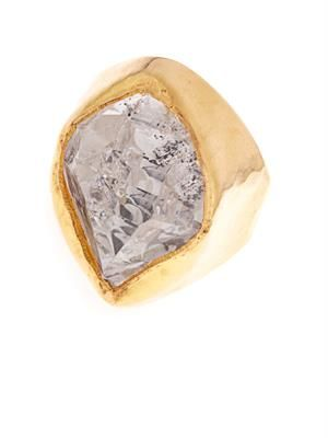 Herkimer diamond-quartz & yellow-gold ring
