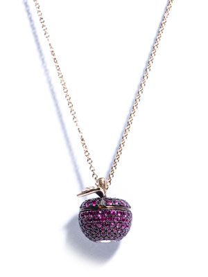 Ruby, diamond & gold Poison Apple necklace