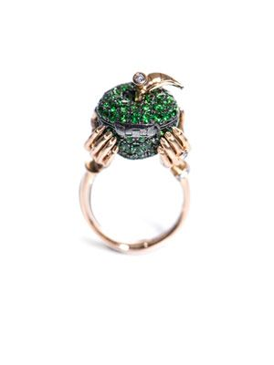 Tsavorite, diamond & gold Poison Apple ring
