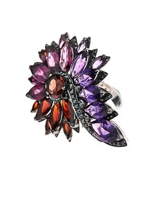 Diamond & mutli-gem magnipheasant ring