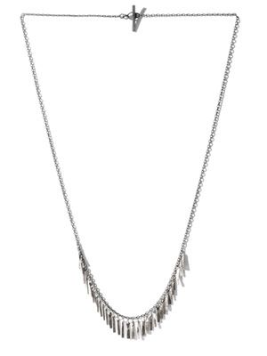 Oxidised silver and white gold fringe necklace